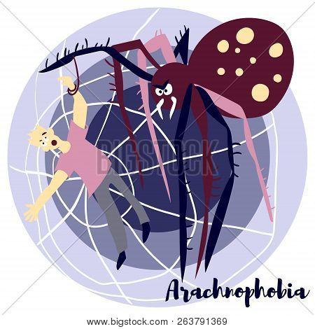 Arachnophobia Vector Illustration With Violet