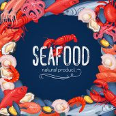 Seafood Vector Illustration. Food Frame With Mussel, Fish Salmon, Shrimp, Squid, Octopus, Scallop, L poster