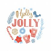 Merry Christmas And Happy New Year Hand Drawn Greeting Card. Cute Poster With Lettering Holly Jolly  poster