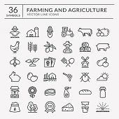 Farming And Agriculture Web Line Icon Set. Vector Isolated Farm And Countryside Outline Symbols: Cer poster