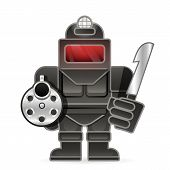 Healthy Man Killer In Armor With A Gun And A Knife poster