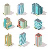 Isometric Buildings. Business Offices, Apartment Houses, Skyscrapers For Infographic City Map, Archi poster