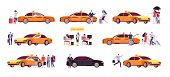 People And Taxi. Cab Drivers Passenger And Car In Ride. Taxi Service Isolated Icons. Taxi Service Ca poster