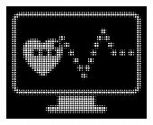 Halftone Pixel Cardio Monitoring Icon. White Pictogram With Pixel Geometric Structure On A Black Bac poster