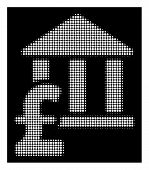 Halftone Pixelated Library Pound Payment Icon. White Pictogram With Pixelated Geometric Pattern On A poster
