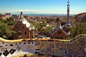 Ceramic mosaic in Park guell, Barcelona, Spain