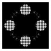Halftone Pixel Circular Relations Icon. White Pictogram With Pixel Geometric Pattern On A Black Back poster