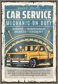 Car Service Retro Poster. Mechanic On Duty, Automobile Repair Shop. Vector Engine And Suspension, Br poster