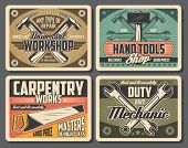 Workshop And Carpentry Tools, Retro Design. Hammer And Wrench, Spanner And Saw Vector Tools. Constru poster