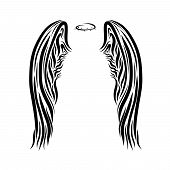 Large Patterned Wings And Halo, Black Pattern poster