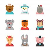Animal Avatars. Cute Hipster Animals Fox Bear Dog Giraffe Owl In Funny Clothes And Accessories Vecto poster