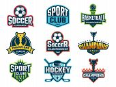 Sport Emblem. Super Star World Cup Competition Badges Logos And Vector Sticker. Sport Competition Lo poster