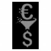 Euro Dollar Conversion Filter Icon With Dissolved Effect On Black Background. White Circle Dots Are  poster