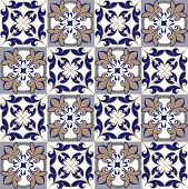 Seamless Patchwork Pattern From Moroccan , Portuguese Tiles In Blue And Brown Colors. Decorative Orn poster