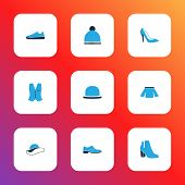 Clothes Icons Colored Set With Heels, Shoe, Gumshoes And Other Vest Elements. Isolated Vector Illust poster