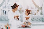 White Coats. Little Lady With Curlers. Mother And Daughter. Consept Beauty Salon. Beautiful Little L poster