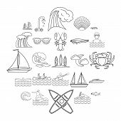 Aqua Icons Set. Outline Set Of 25 Aqua Vector Icons For Web Isolated On White Background poster