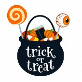 Halloween Trick Or Treat Black Cauldron Bucket Full Of Candy Vector Cartoon Illustration Isolated On poster