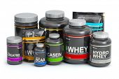 Sports  nutrition (supplements) for bodybuilding. Whey protein casein, bcaa, creatine isolated on wh poster