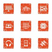Cosmic Tech Icons Set. Grunge Set Of 9 Cosmic Tech Vector Icons For Web Isolated On White Background poster