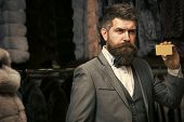 Purchase, Shopping, Business, Moneybags. Bearded Man Among Fur, Luxury, Moneybags, Business. Fashion poster