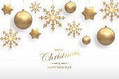 Vector Illustration Of Christmas Background With Golden Realistic Christmas Ball, Star, Snowflake De poster