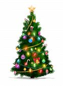 Christmas Tree With Xmas Star, Balls And Lights. Green Fir Or Pine, Decorated With Gift Boxes, Glowi poster