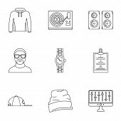 Urban Rap Icon Set. Outline Set Of 9 Urban Rap Vector Icons For Web Design Isolated On White Backgro poster