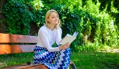 Reading Literature As Hobby. Woman Blonde Take Break Relaxing In Park Reading Book. Ultimate Best Bo poster