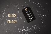 Black Background And Black Price Label.  Black Friday. Sales Concept. Copy Space.  Black Paper Label poster