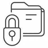 Lock Folder Icon. Outline Lock Folder Vector Icon For Web Design Isolated On White Background poster
