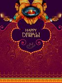 Illustration Of Lady Holding Decorated Diya For Happy Diwali Holiday Background poster