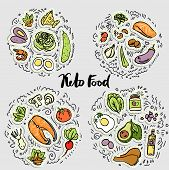 Keto Food, Ketogenic Healthy Food Vector Sketch Illustration Concept. Keto Sticker Illustration - Fo poster