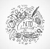 Keto Challenge Food Sketch Illustration - Black And White Vector Sketch Healthy Concept. Healthy Ket poster