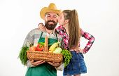Man Bearded Rustic Farmer With Kid. Father Farmer Or Gardener With Daughter Hold Basket Harvest Vege poster