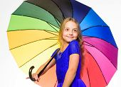 Ways To Brighten Your Fall Mood. Girl Child Ready Meet Fall Weather With Colorful Umbrella. Ways To  poster