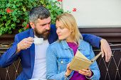 Love And Flirt. Common Interests. Couple In Love Sit Cafe Terrace. Man With Beard And Blonde Woman C poster
