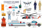 Coast Guard Day Flat Icoms Set. Guarding The Order Background. Devices Infographic Concept. Layout I poster