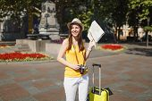 Young Laughing Traveler Tourist Woman In Hat With Suitcase, City Map, Retro Vintage Photo Camera Wal poster