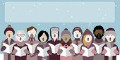 Group Of Christmas Carol Singers With Speech Bubble For Text poster