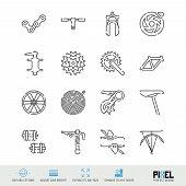 Bicycle Spare Parts Vector Line Icons Set. Bike Shop, Maintenance And Repair Linear Symbols. Pixel P poster