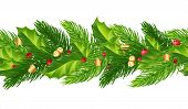 Green Christmas Garlands Of Holly, Berries,bells And Golden Ornaments.horizontal Seamless Background poster