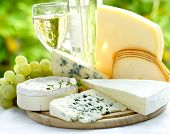 stock photo of brie cheese  - cheese and wine - JPG