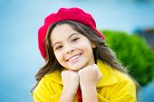 Hat Accessory French Fashion Detail. Kid Girl Bright Hat Beret Long Curly Hair. Fall Hat Fashion Acc poster