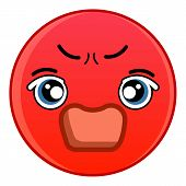 Angry Red Emoticon Icon. Cartoon Illustration Of Angry Red Emoticon Icon For Web poster