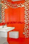 stock photo of lavabo  - New red bathroom very modern and contemporary  - JPG