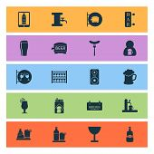 Beverages Icons Set With Bar, Tavern, Tap And Other Whiskey With Ice Elements. Isolated Vector Illus poster