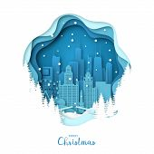 Snowy Chicago City. Merry Christmas Paper Art Greeting Card. Vector Illustration. poster