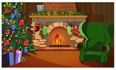 Decorated Christmas Interior With Fir-tree, Fireplace And Socks. Room With Decorated Fir-tree And Gi poster