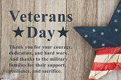 Veterans Day Message Thanking The Military And Their Families Text With Usa Patriotic Old Star On A  poster